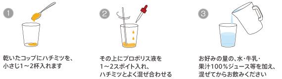 プロポリスの飲み方:乾いたコップにハチミツを、小さじ1〜2杯(お好みで自由に決めて下さい)入れます。 その上(ハチミツ)にプロポリス液をお好み量を入れます。はちみつとよく混ぜ合わせてください。お好みの量の<天然水><牛乳><果汁100%ジュース>等を加えて混ぜてからお飲み下さい。